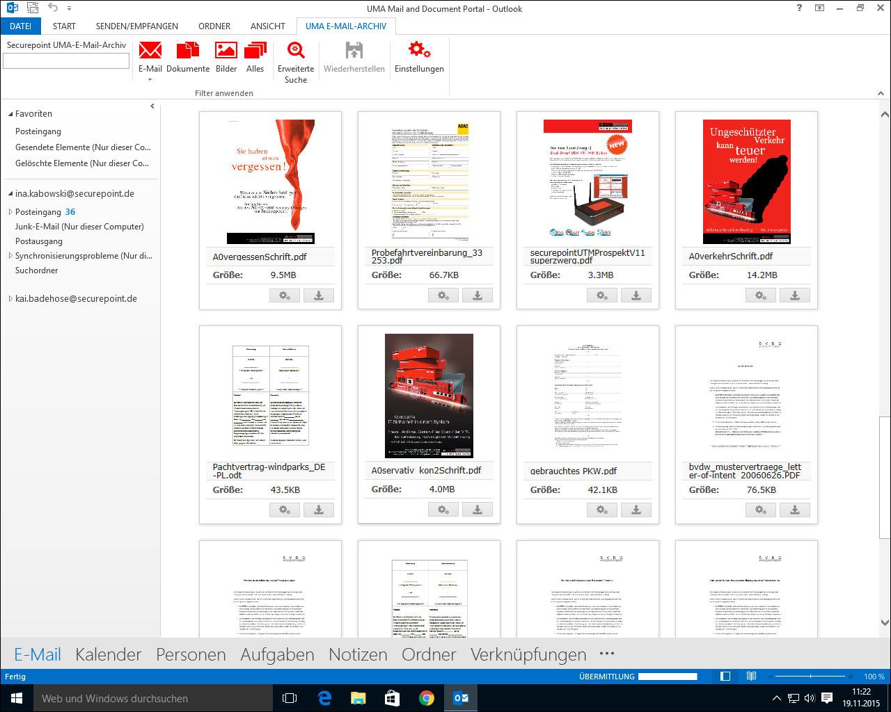 UMA Outlook Plugin Dokumentenansicht