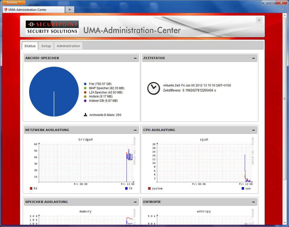 UMA Administrations-Center Screenshot