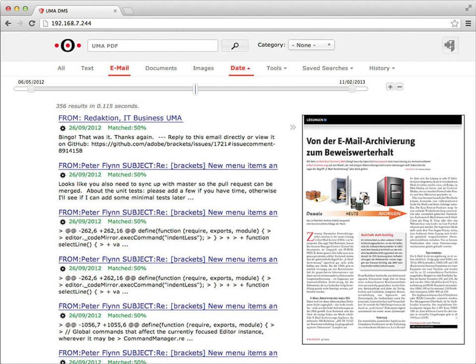 UMA E-Mail und Dokument Suche Screenshot